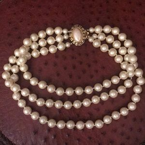 Carolee Triple Strand Faux Pearl Choker Necklace